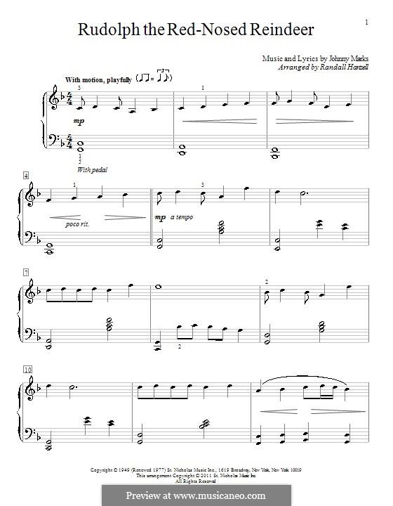 Rudolph the Red-Nosed Reindeer: Für Klavier by Johnny Marks
