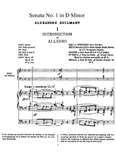 Orgelsonate No.1 in d-Moll, Op.42: Version für Orgel by Alexandre Guilmant