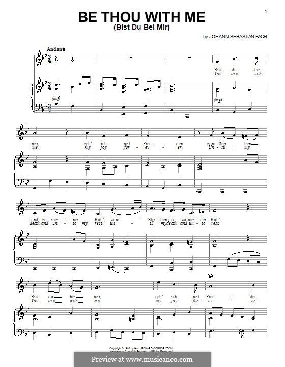 Nr.25 Bist du bei mi: Für Stimme und Klavier (oder Gitarre) by Johann Sebastian Bach