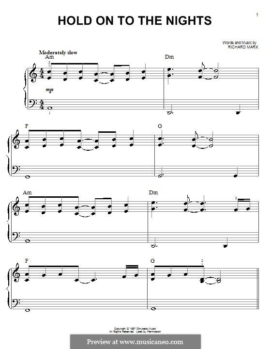 Hold on to the Nights: Einfache Noten für Klavier by Richard Marx