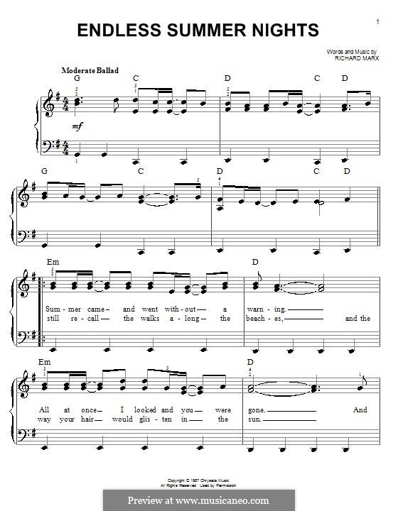 Endless Summer Nights: Einfache Noten für Klavier by Richard Marx