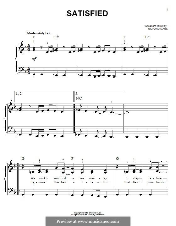 Satisfied: Einfache Noten für Klavier by Richard Marx