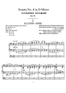Orgelsonate Nr.4 in d-Moll, Op.61: Orgelsonate Nr.4 in d-Moll by Alexandre Guilmant