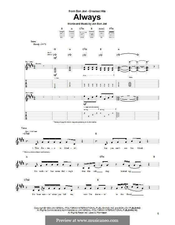 Always (Bon Jovi): Für Gitarre mit Tabulatur by Jon Bon Jovi