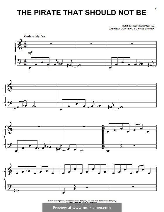 The Pirate That Should Not Be: Einfache Noten für Klavier by Gabriela Quintero, Rodrigo Sánchez