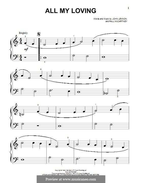 All My Loving (The Beatles): Für Klavier by John Lennon, Paul McCartney