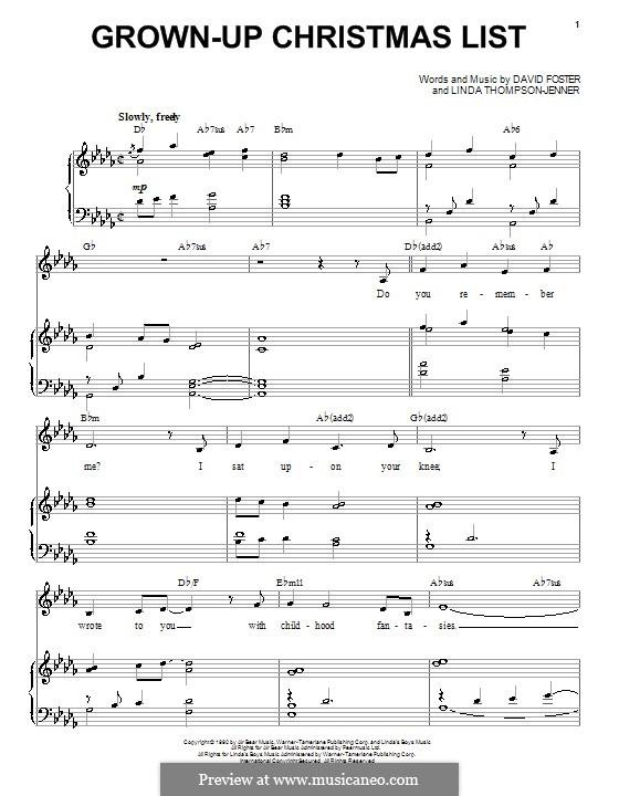 Grown-Up Christmas List: Für Stimme und Klavier (Barbra Streisand) by David Foster, Linda Thompson-Jenner