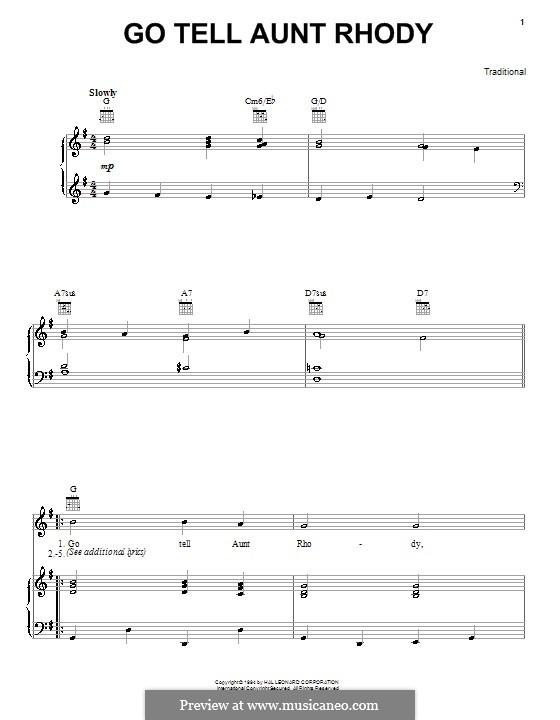 Go Tell Aunt Rhody: Für Stimme und Klavier (oder Gitarre) by folklore