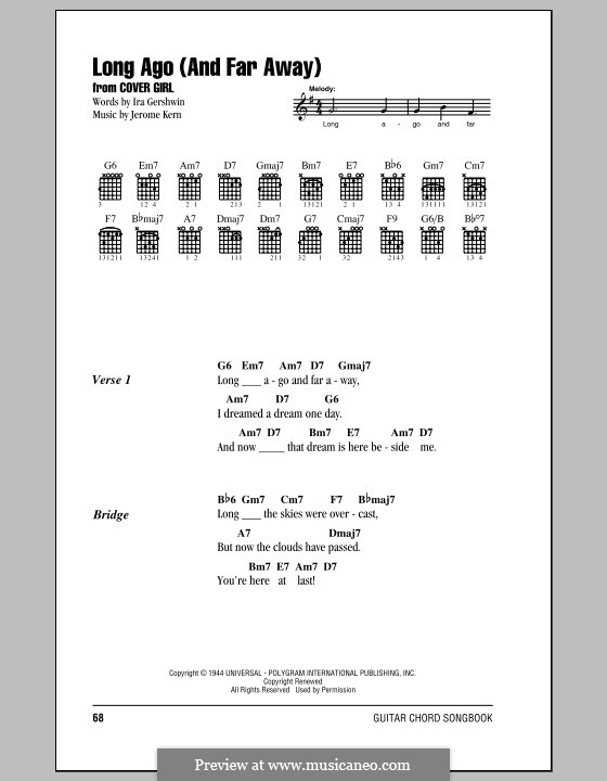 Long Ago (and Far Away): Text und Akkorde by Jerome Kern