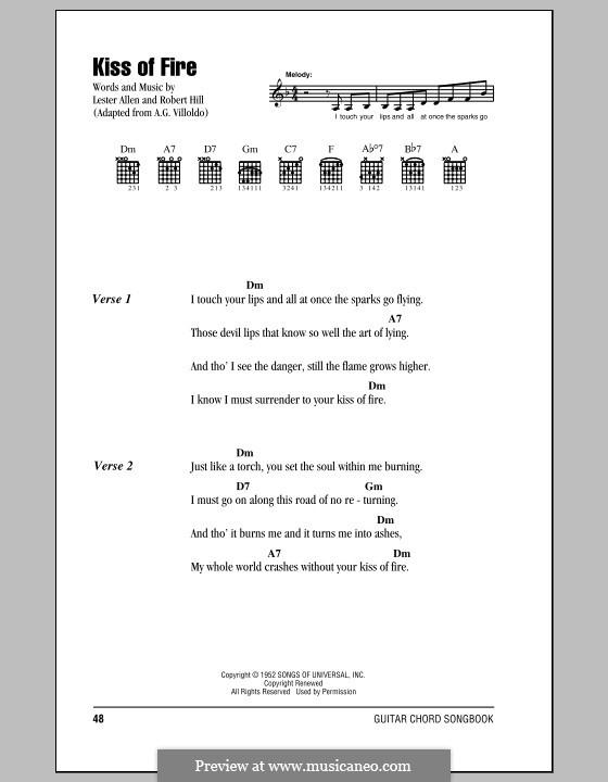 Kiss of Fire: Text und Akkorde (Georgia Gibbs) by Lester Allen, Robert Hill