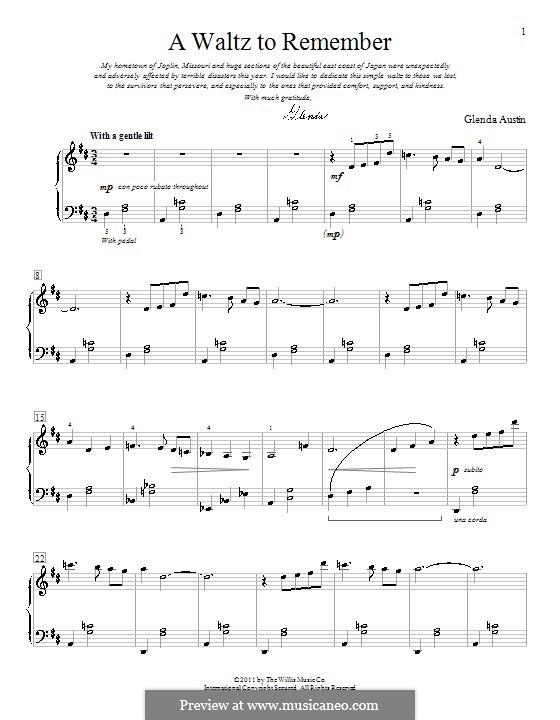 A Waltz to Remember: Für Klavier by Glenda Austin