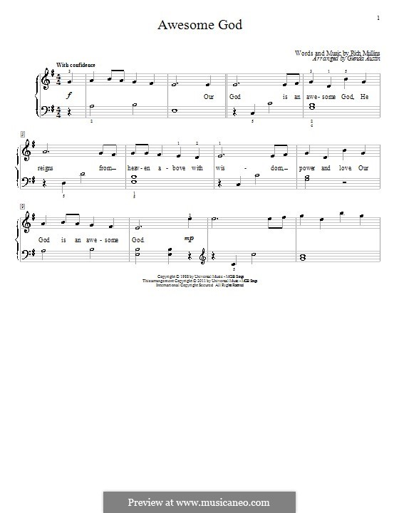 Awesome God: Für Klavier (mit Text) by Rich Mullins