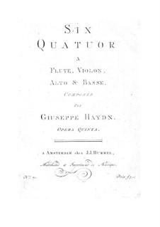 Sechs Quartette für Flöte und Streicher: Sechs Quartette für Flöte und Streicher by Joseph Haydn