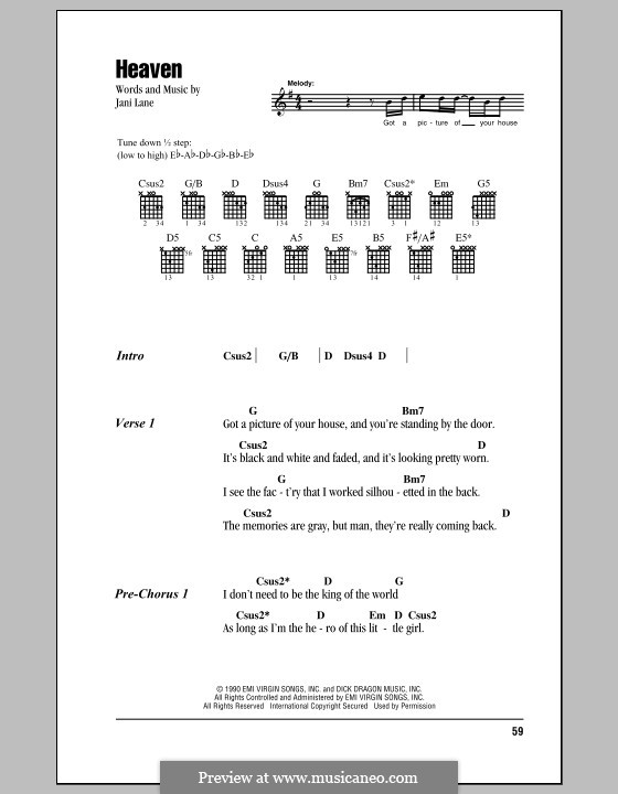 Heaven (Warrant): Text und Akkorde by Jani Lane