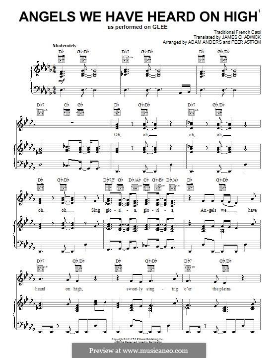 Angels We Have Heard on High: Für Stimme mit Klavier oder Gitarre (Glee Cast) by folklore