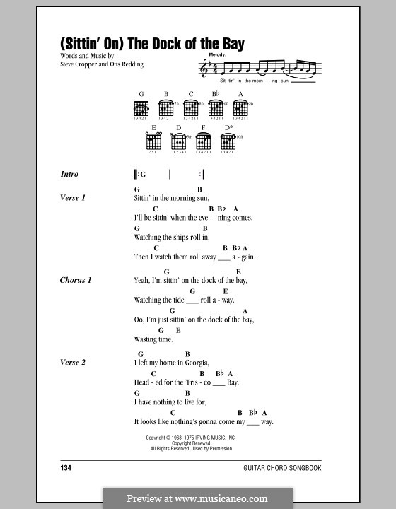 (Sittin' On) The Dock of the Bay: Texte und Akkorde by Otis Redding, Steve Cropper