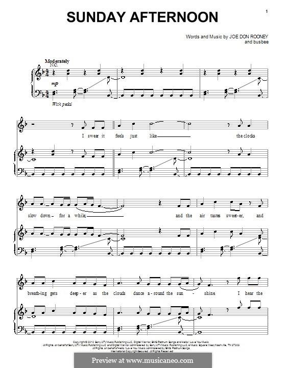 Sunday Afternoon (Rascal Flatts): Für Stimme und Klavier (oder Gitarre) by Busbee, Joe Don Rooney