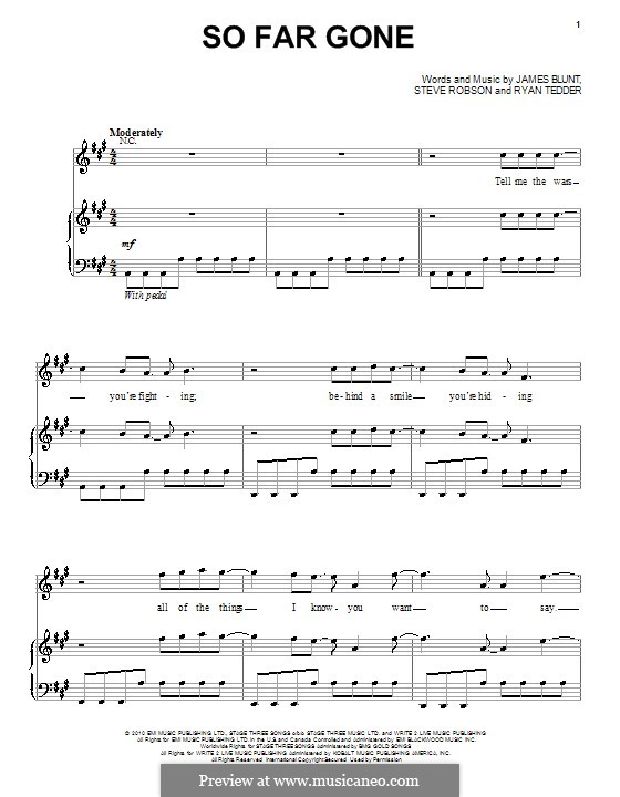 So Far Gone: Für Stimme und Klavier (oder Gitarre) by James Blunt, Ryan B Tedder, Steve Robson