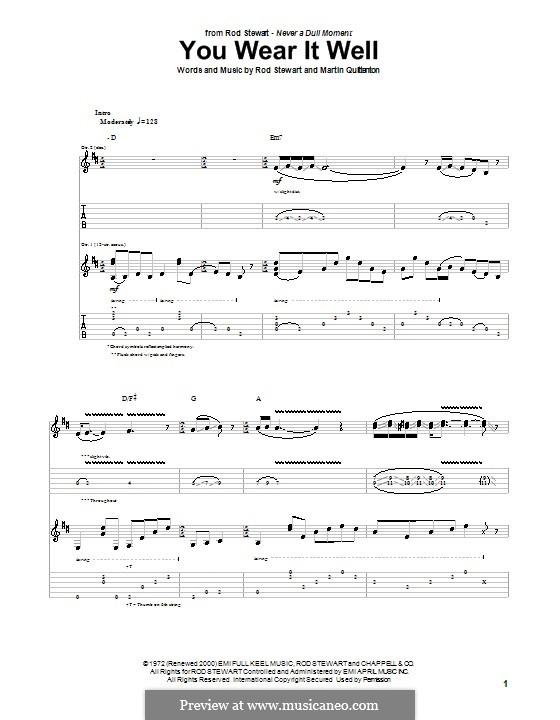 You Wear It Well: Für Gitarre mit Tab by Martin Quittenton, Rod Stewart