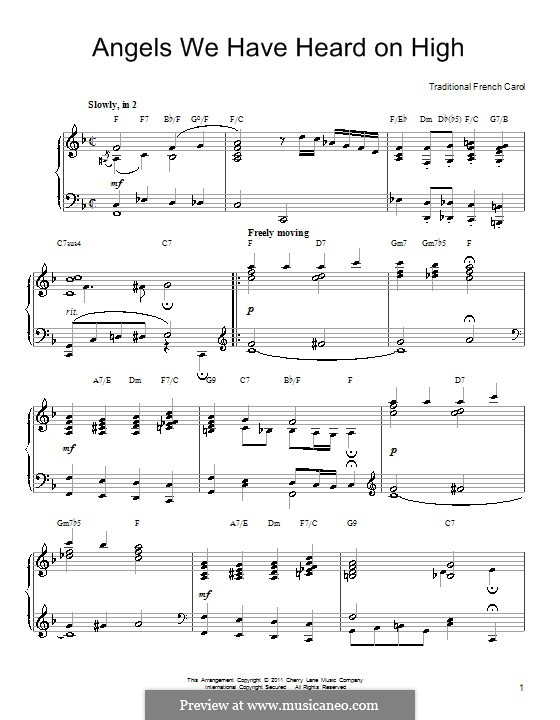 Angels We Have Heard on High, for Piano: For a single performer with chords by folklore
