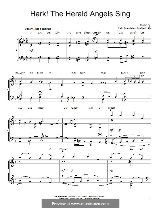 Hark! The Herald Angels Sing, for Piano: With chords by Felix Mendelssohn-Bartholdy