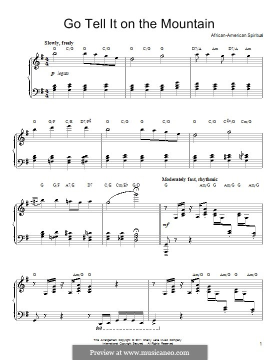 Go, Tell it on the Mountain (Printable Scores): Für Klavier by folklore