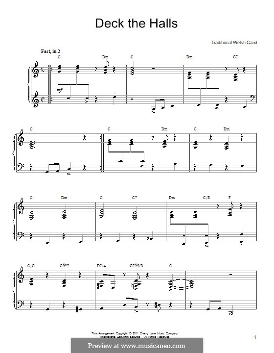 Deck the Hall, for Piano: For a single performer (with chords) by folklore