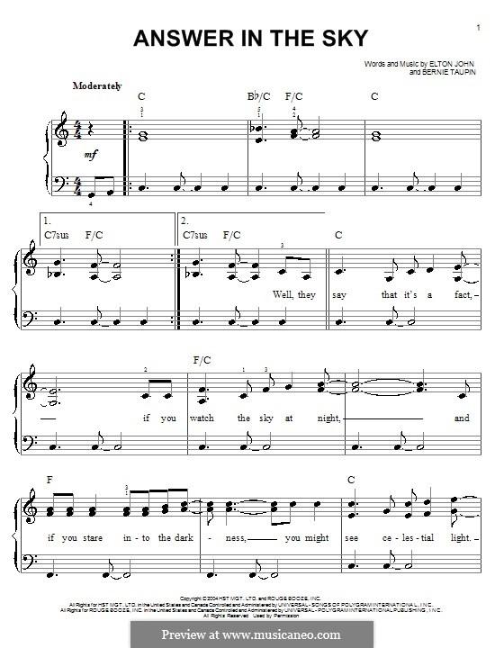 Answer in the Sky: Für Klavier, leicht by Elton John