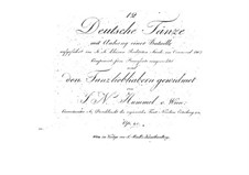 Zwölf Deutsche Tänze mit Anhang, Op.25: Zwölf Deutsche Tänze mit Anhang by Johann Nepomuk Hummel
