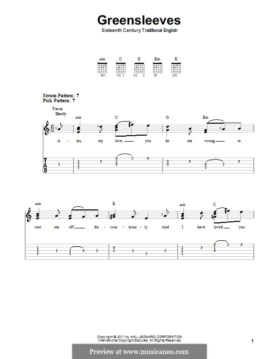 Greensleeves (Printable scores): For easy guitar with tab by folklore