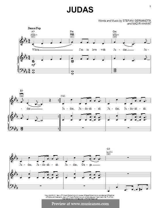 Judas (Lady Gaga): Für Stimme und Klavier (oder Gitarre) by RedOne, Stefani Germanotta