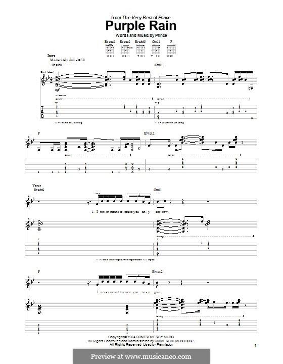Purple Rain: Für Gitarre mit Tabulatur by Prince
