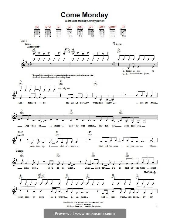 Come Monday: Für Gitarre by Jimmy Buffett