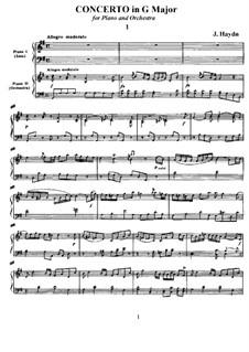 Konzert für Klavier und Orchester in G-Dur, Hob.XVIII/4: Version für zwei Klaviere, vierhändig by Joseph Haydn