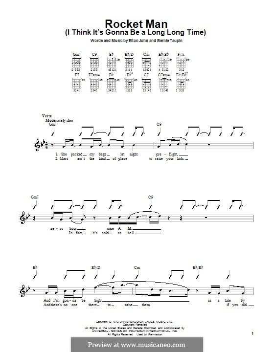 Rocket Man (I Think It's Gonna Be a Long Long Time): Für Gitarre by Elton John