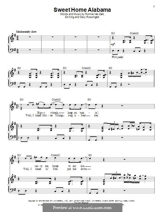 Sweet Home Alabama (Lynyrd Skynyrd): Für Stimme und Klavier by Ed King, Gary Rossington, Ronnie Van Zant