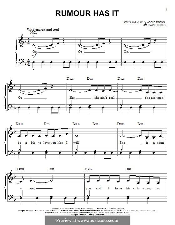 Rumour Has It: Einfache Noten für Klavier by Adele, Ryan B Tedder