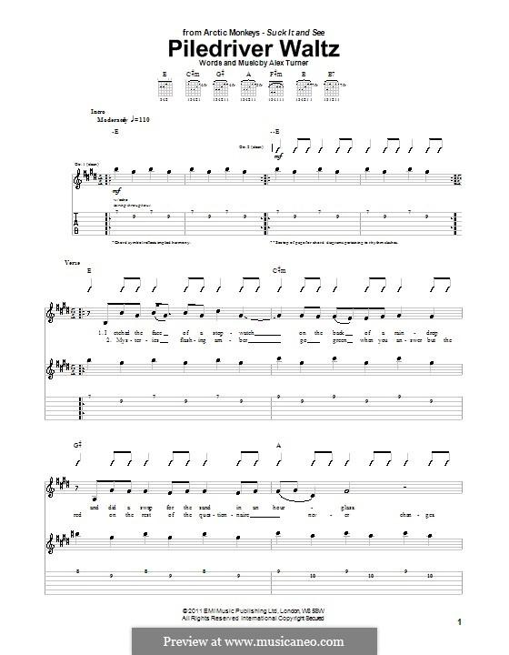 Piledriver Waltz (Arctic Monkeys): Für Gitarre mit Tab by Alex Turner