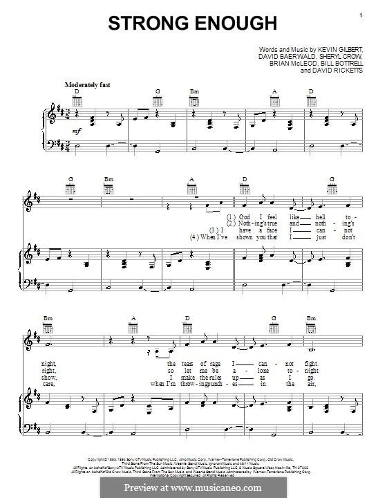 Strong Enough: Für Stimme und Klavier (oder Gitarre) by Bill Bottrell, Brian MacLeod, David Baerwald, David Ricketts, Kevin Gilbert, Sheryl Crow