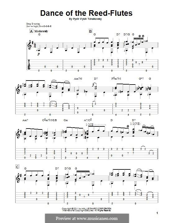 Nr.7 Tanz der Mirlitons: Für Gitarre by Pjotr Tschaikowski