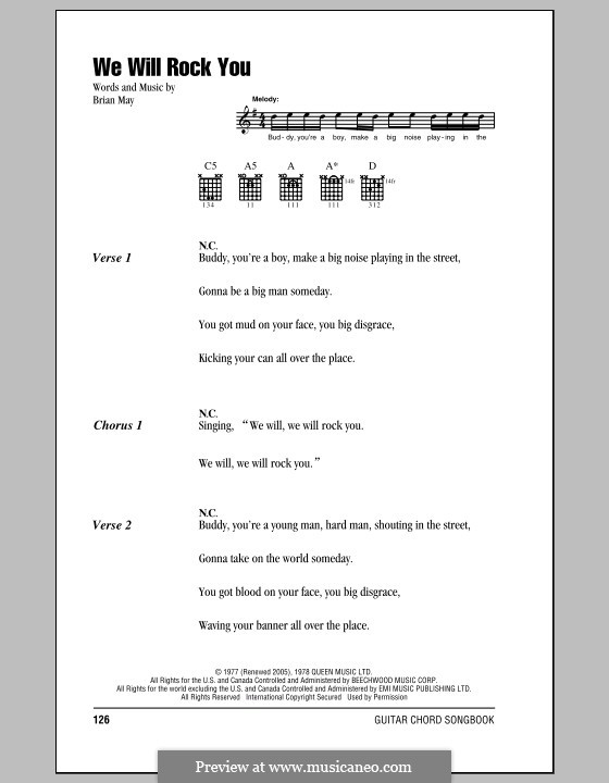 We Will Rock You (Queen): Text und Akkorde by Brian May