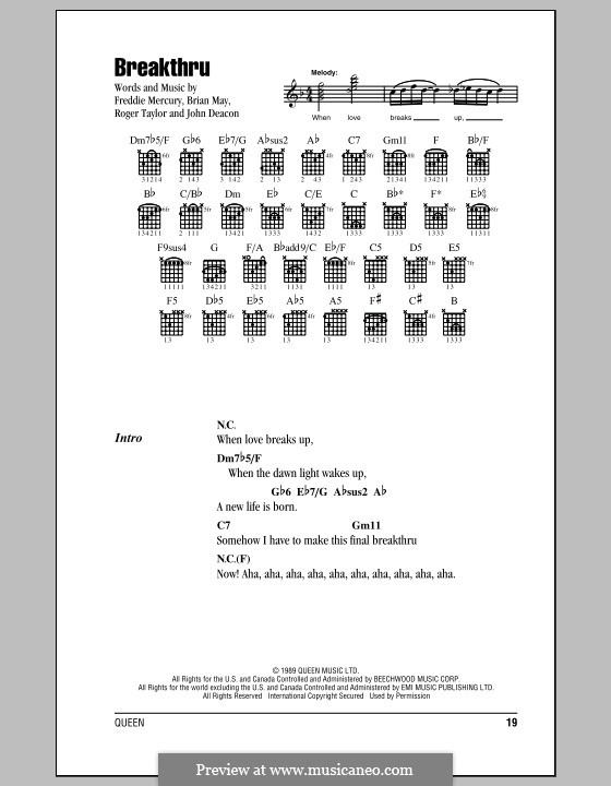Breakthru (Queen): Text und Akkorde by Brian May, Freddie Mercury, John Deacon, Roger Taylor