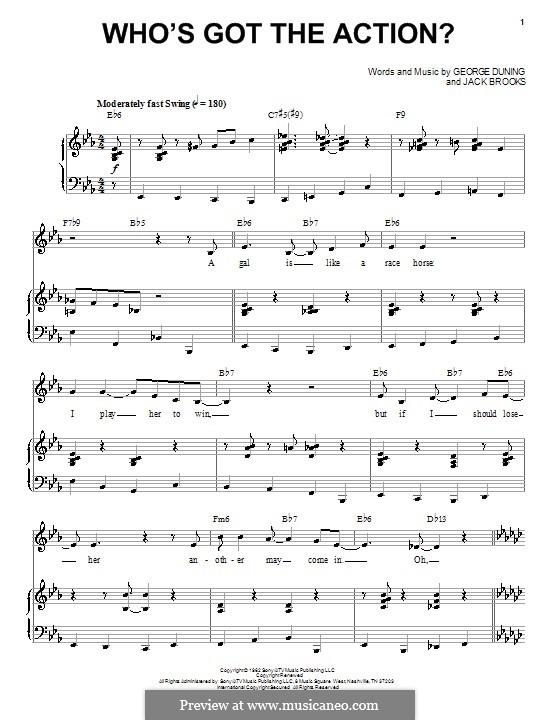 Who's Got the Action (Dean Martin): Für Stimme und Klavier by George Duning, Jack Brooks