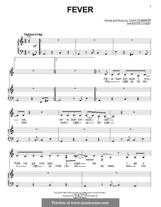 Fever: Für Stimme und Klavier by Eddie Cooley, John Davenport
