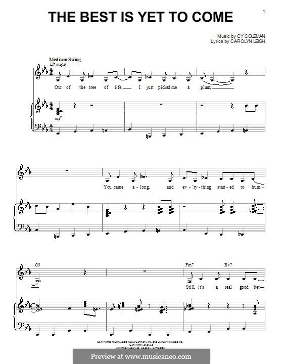 The Best is Yet to Come: Für Stimme und Klavier (Shirley Horn) by Cy Coleman