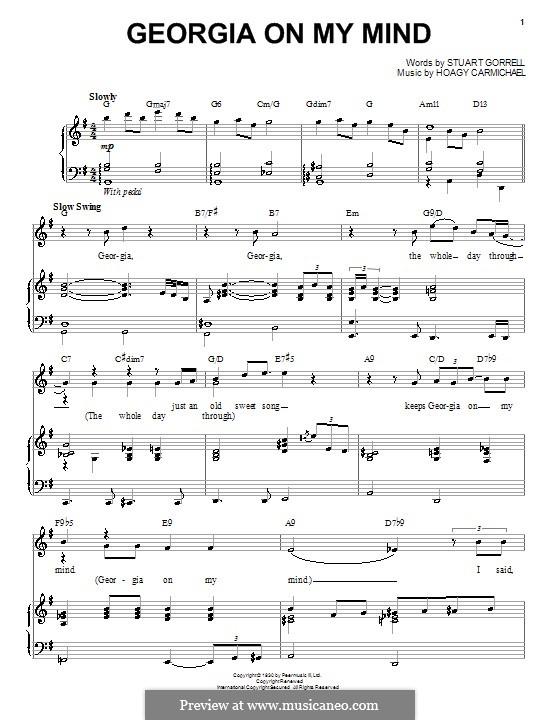 Georgia on My Mind: Für Stimme und Klavier (Ray Charles) by Hoagy Carmichael