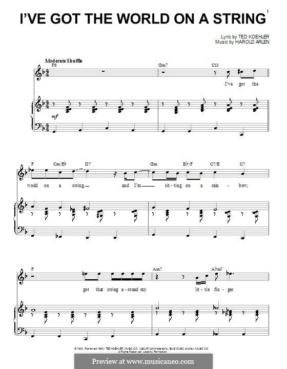 I've Got the World on a String: Für Stimme und Klavier (Louis Prima) by Harold Arlen