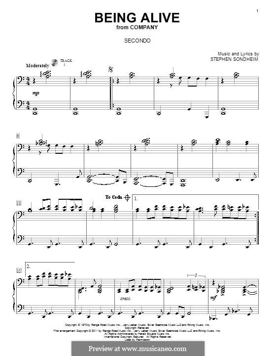 Being Alive (from Company): Für Klavier, vierhändig by Stephen Sondheim