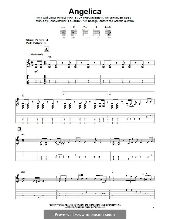 Angelica: Für Gitarre (Sehr leichte Fassung) by Eduardo Cruz, Gabriela Quintero, Rodrigo Sánchez