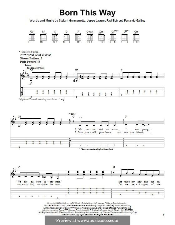 Born This Way: Easy guitar with tab by Fernando Garibay, Jeppe Laursen, Paul Blair, Stefani Germanotta